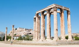 The Temple of Olympian Zeus and the Acropolis in the background, Athens Stock Photography