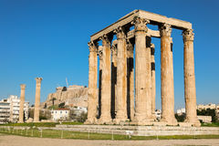 Temple of Olympian Zeus and Acropolis Hill, Athens, Greece. Royalty Free Stock Image