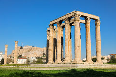 Temple of Olympian Zeus and Acropolis Hill, Athens, Greece. Royalty Free Stock Photo