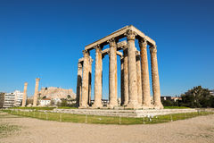 Temple of Olympian Zeus and Acropolis Hill, Athens, Greece. Royalty Free Stock Images
