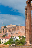 Temple of Olympian Zeus and Acropolis with Parthenon Stock Photos