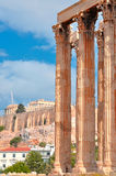 Temple of Olympian Zeus and Acropolis with Parthenon Royalty Free Stock Photography