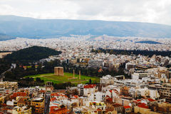 Temple of Olympian Zeus aerial view in Athens. Temple of Olympian Zeus in Athens, Greece on an overcast day Stock Photos