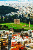 Temple of Olympian Zeus aerial view in Athens. Temple of Olympian Zeus in Athens, Greece on an overcast day Royalty Free Stock Photography