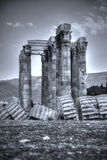 Temple of Olympian Zeus. The Temple of Olympian Zeus, also known as the Olympieion or Columns of the Olympian Zeus, is a colossal ruined temple in the center of Royalty Free Stock Images