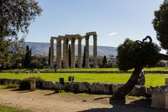 The temple of olympian Zeus in Athens royalty free stock photo