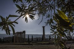 The Temple of Olympian Zeus in Athens, Greece. The Temple of Olympian Zeus, also known as the Olympieion or Columns of the Olympian Zeus, is a monument of Greece Royalty Free Stock Photo