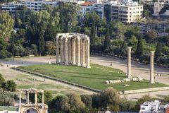 Panoramic view of the Temple of Olympian Zeus, Athens, Greece. Overview of Athens with The Temple of Olympian Zeus in the centre royalty free stock photos