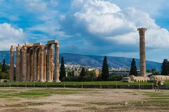 The Temple of Olympian Zeus in the center of Athens, Greece royalty free stock photo