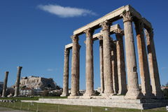 Temple of olympian zeus, athens, acropolis in the background Stock Photos