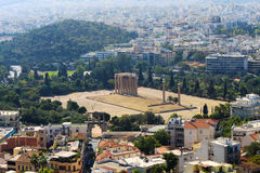 Temple of Olympian Zeus - Athens. The Temple of Olympian Zeus, also known as the Olympieion or Columns of the Olympian Zeus, is a colossal ruined temple in the Stock Image