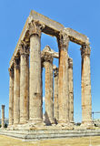Temple of Olympian Zeus, Athens. The Temple of Olympian Zeus is a colossal ruined temple in the centre of the Greek capital Athens that was dedicated to Zeus Stock Image