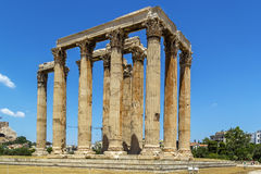 Temple of Olympian Zeus, Athens. The Temple of Olympian Zeus is a colossal ruined temple in the centre of the Greek capital Athens that was dedicated to Zeus Stock Images