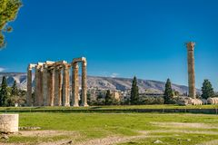 Temple of Olympian Zeus, Athens. In daytime Stock Photos
