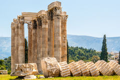 Temple of Olympian Zeus in Athens. The famous Olympieion (the Temple of Olympian Zeus ) in the greek capital Athens Stock Image
