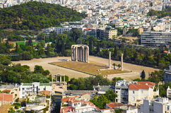 Temple of the Olympian Zeus at Athens, Greece. View from Acropolis Stock Images