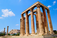 Temple of Olympian Zeus in Athens, Greece. With the view to Acropolis Stock Images