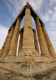 Temple of Olympian Zeus, Athens, Greece. Perspective distortion from the corner of ancient greek temple Royalty Free Stock Images