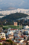 The Temple of Olympian Zeus in Athens, Greece. Temple of Olympian Zeus and Arch of Hadrian in the center Royalty Free Stock Photography