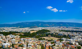 Temple of the Olympian Zeus at Athens, Greece - view from Acropolis stock photos