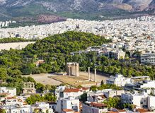 Temple of the Olympian Zeus at Athens, Greece - view from Acropolis. The Temple of Olympian Zeus is a monument of Greece and a former colossal temple at the Stock Image