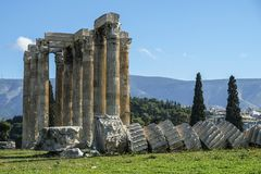 Temple of Olympian Zeus in Athens, Greece. Views of the Temple of Olympian Zeus in Athens, Greece Stock Photo