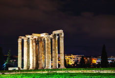 Temple of Olympian Zeus in Athens. In the night Royalty Free Stock Photography