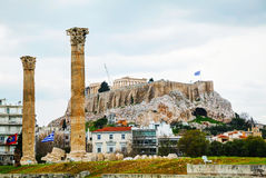 Temple of Olympian Zeus in Athens. On an overcast day Royalty Free Stock Photo