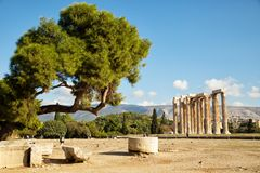 The Temple of Olympian Zeus in Athens Stock Image