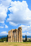 Temple of Olympian Zeus on bright sunny and beautiful sky clouds, Athens. Greece Royalty Free Stock Photos