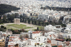 Temple of olympian zeus and the city of athens Royalty Free Stock Images