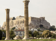 Temple of Olympian Zeus columns. With acropolis in background Stock Images