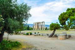 Temple of Olympian Zeus. Columns of the Olympian Zeus temple in Athens Stock Photo