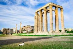 The Temple of Olympian Zeus Greek: Naos tou Olimpiou Dios, also known as the Olympieion, Athens. The Temple of Olympian Zeus Greek: Naos tou Olimpiou Dios, also Stock Images