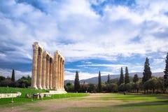 The Temple of Olympian Zeus Greek: Naos tou Olimpiou Dios, also known as the Olympieion, Athens. royalty free stock photos