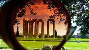 Temple of Olympian Zeus. The Temple of Olympian Zeus in the lens of a pair of vintage sunglasses Royalty Free Stock Image
