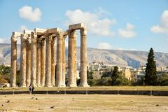 The Temple of Olympian Zeus in Athens. The Temple of Olympian Zeus is a monument of Greece and a former colossal temple at the centre of the Greek capital Athens Stock Photography