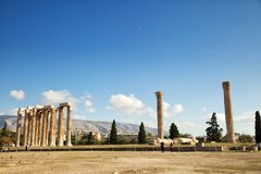 The Temple of Olympian Zeus in Athens. The Temple of Olympian Zeus is a monument of Greece and a former colossal temple at the centre of the Greek capital Athens Royalty Free Stock Image