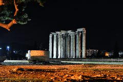 Temple of Olympian Zeus. By night in Athens, Greece Stock Photos