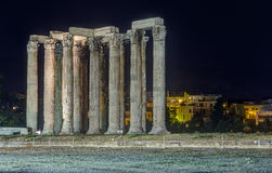 Temple of Olympian Zeus at night, Athens, Greece royalty free stock photo