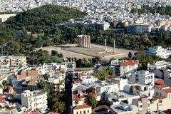 The Temple of Olympian Zeus or the Olympieion at the centre of the Greek capital Athens. The Temple of Olympian Zeus or the Olympieion or Columns of the Olympian Royalty Free Stock Photo