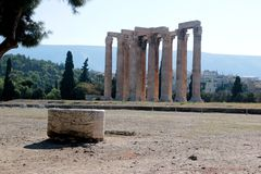The Temple of Olympian Zeus or the Olympieion at the centre of the Greek capital Athens. The Temple of Olympian Zeus or the Olympieion or Columns of the Olympian Royalty Free Stock Image