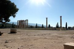 The Temple of Olympian Zeus or the Olympieion at the centre of the Greek capital Athens. The Temple of Olympian Zeus or the Olympieion or Columns of the Olympian Stock Images