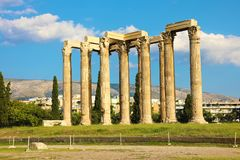 The Temple of Olympian Zeus or the Olympieion is a monument of Greece and a former colossal temple in the centre of the Greek. Capital city Athens royalty free stock photos
