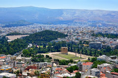 Temple of the Olympian Zeus. Panoramic view of Athens and the famous temple of Olympian Zeus from the Acropolis on a summer sunny day Stock Image