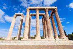 Temple of Olympian Zeus. The Temple of Olympian Zeus or the Olympieion or Columns of the Olympian Zeus is a monument of Greece and a former colossal temple at Royalty Free Stock Photos