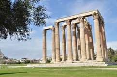 Temple of Olympian Zeus. A view of the ruins of the ancient Olympian Zeus Temple in Athens Stock Photo