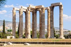 Temple of Olympian Zeus - Athens. The Temple of Olympian Zeus, also known as the Olympieion, was one of the largest temples ever built in the ancient world Stock Images