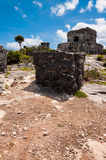 A Temple on one of the Mayan ruins in Tulum,Mexico. One of the well preserved Mayan sites in Tulum, Mexico on Yucatan Peninsula. Part of the precolumbian Maya stock image
