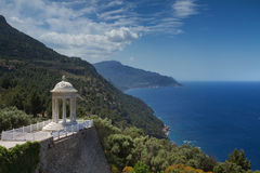 Temple overlooking the coast of Mallorca. Spain Royalty Free Stock Photography